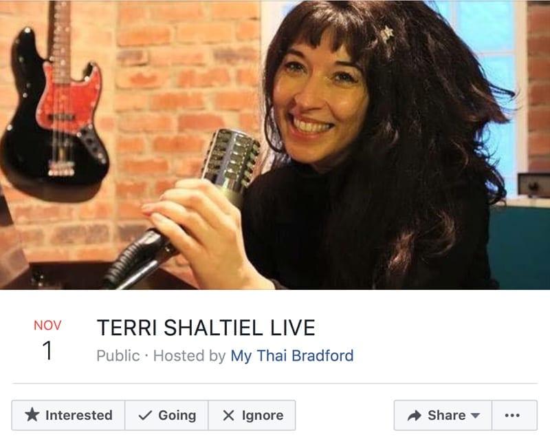 TERRI SHALTIEL LIVE Public · Hosted by My Thai Bradford